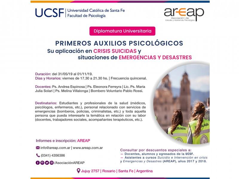 Diplomatura Primeros Auxilios Psicológicos. Su aplicación en Crisis Suicidas y situaciones de Emergencias y Desastres